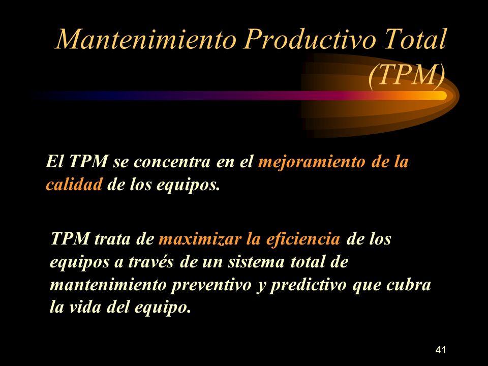 41 Mantenimiento Productivo Total (TPM) El TPM se concentra en el mejoramiento de la calidad de los equipos. TPM trata de maximizar la eficiencia de l