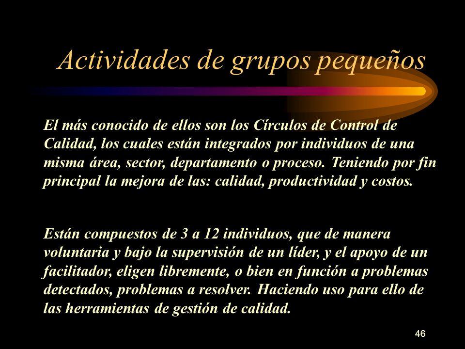 46 Actividades de grupos pequeños El más conocido de ellos son los Círculos de Control de Calidad, los cuales están integrados por individuos de una m