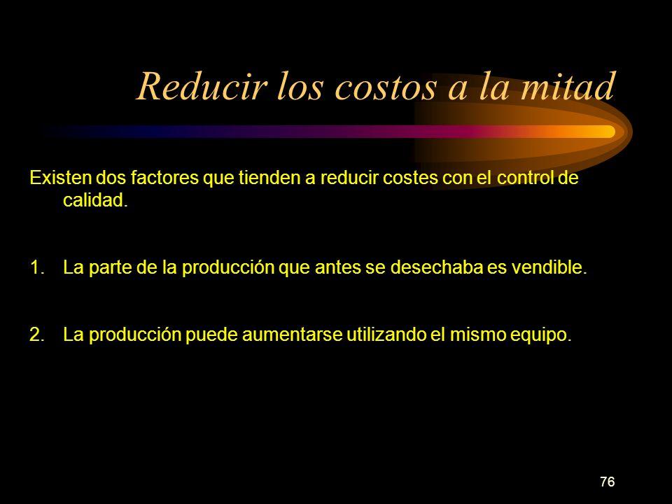 76 Reducir los costos a la mitad Existen dos factores que tienden a reducir costes con el control de calidad. 1.La parte de la producción que antes se