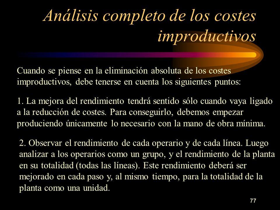 77 Análisis completo de los costes improductivos Cuando se piense en la eliminación absoluta de los costes improductivos, debe tenerse en cuenta los s