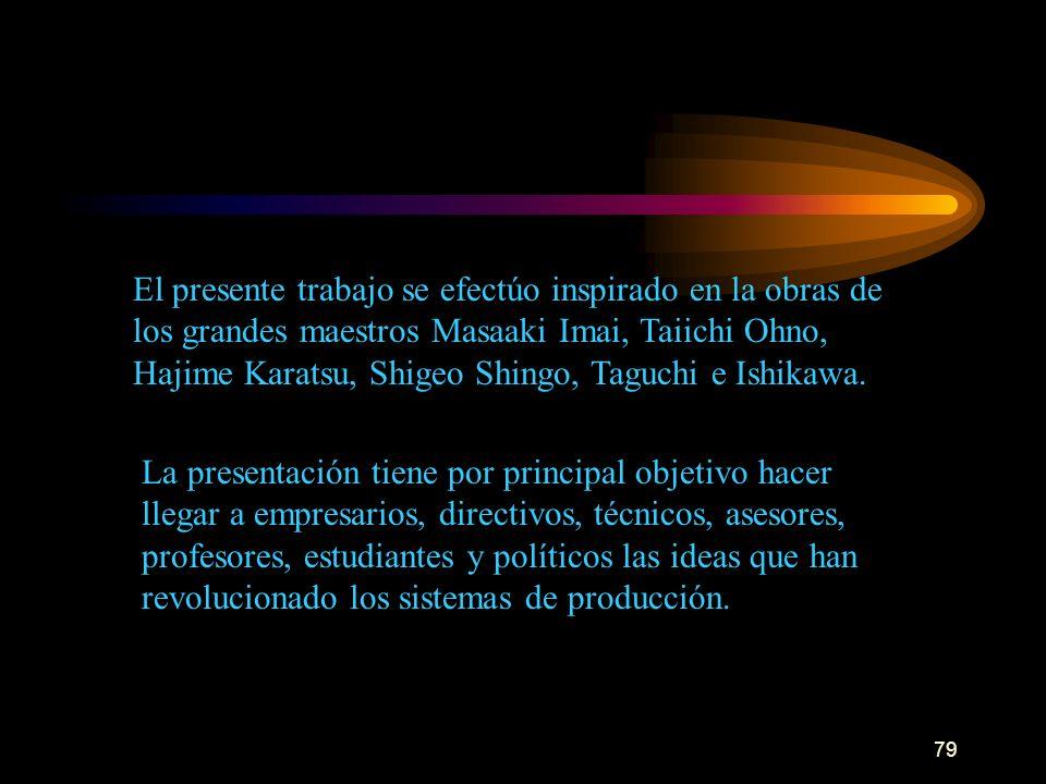 79 El presente trabajo se efectúo inspirado en la obras de los grandes maestros Masaaki Imai, Taiichi Ohno, Hajime Karatsu, Shigeo Shingo, Taguchi e I