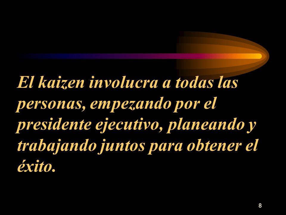 8 El kaizen involucra a todas las personas, empezando por el presidente ejecutivo, planeando y trabajando juntos para obtener el éxito.