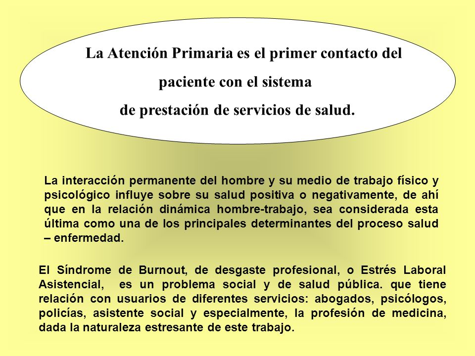 La Atención Primaria es el primer contacto del paciente con el sistema de prestación de servicios de salud. La interacción permanente del hombre y su