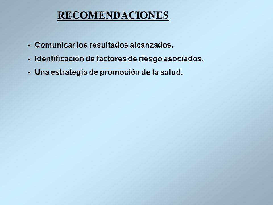RECOMENDACIONES - Comunicar los resultados alcanzados. - Identificación de factores de riesgo asociados. - Una estrategia de promoción de la salud.