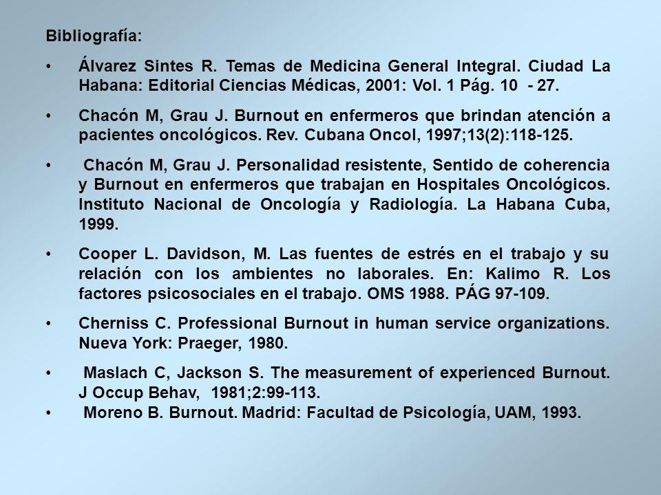 Bibliografía: Álvarez Sintes R. Temas de Medicina General Integral. Ciudad La Habana: Editorial Ciencias Médicas, 2001: Vol. 1 Pág. 10 - 27. Chacón M,