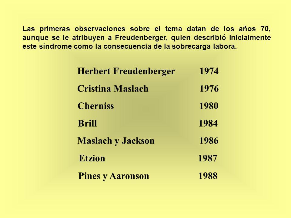 Cristina Maslach 1976 Cherniss 1980 Brill 1984 Maslach y Jackson 1986 Etzion 1987 Pines y Aaronson 1988 Herbert Freudenberger 1974 Las primeras observ