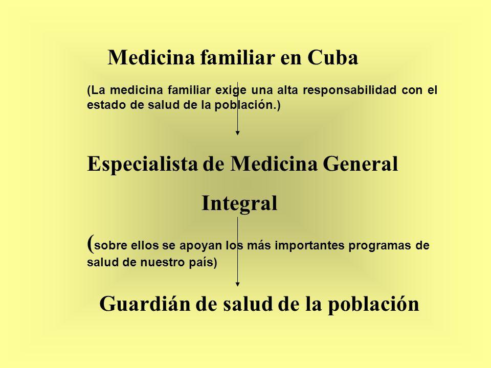 Guardián de salud de la población Medicina familiar en Cuba Especialista de Medicina General Integral ( sobre ellos se apoyan los más importantes prog