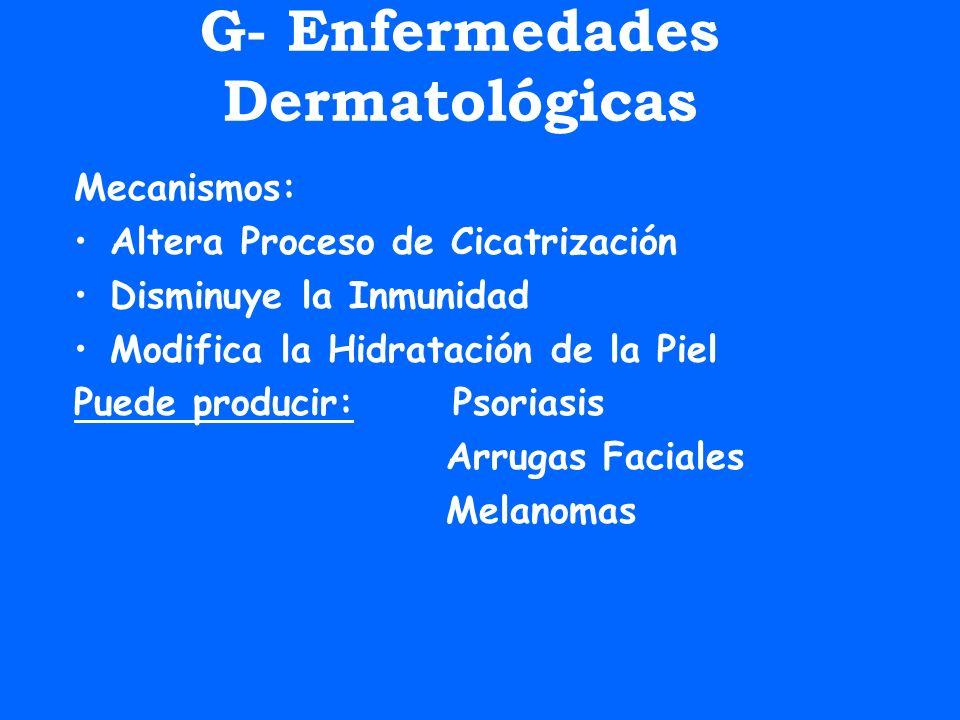 G- Enfermedades Dermatológicas Mecanismos: Altera Proceso de Cicatrización Disminuye la Inmunidad Modifica la Hidratación de la Piel Puede producir: P