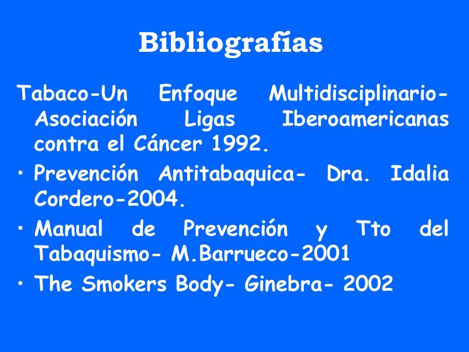Bibliografías Tabaco-Un Enfoque Multidisciplinario- Asociación Ligas Iberoamericanas contra el Cáncer 1992. Prevención Antitabaquica- Dra. Idalia Cord