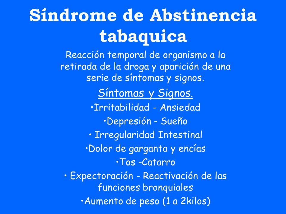 Síndrome de Abstinencia tabaquica Reacción temporal de organismo a la retirada de la droga y aparición de una serie de síntomas y signos. Síntomas y S