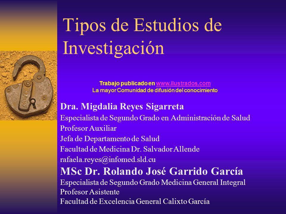 Tipos de Estudios de Investigación Dra. Migdalia Reyes Sigarreta Especialista de Segundo Grado en Administración de Salud Profesor Auxiliar Jefa de De