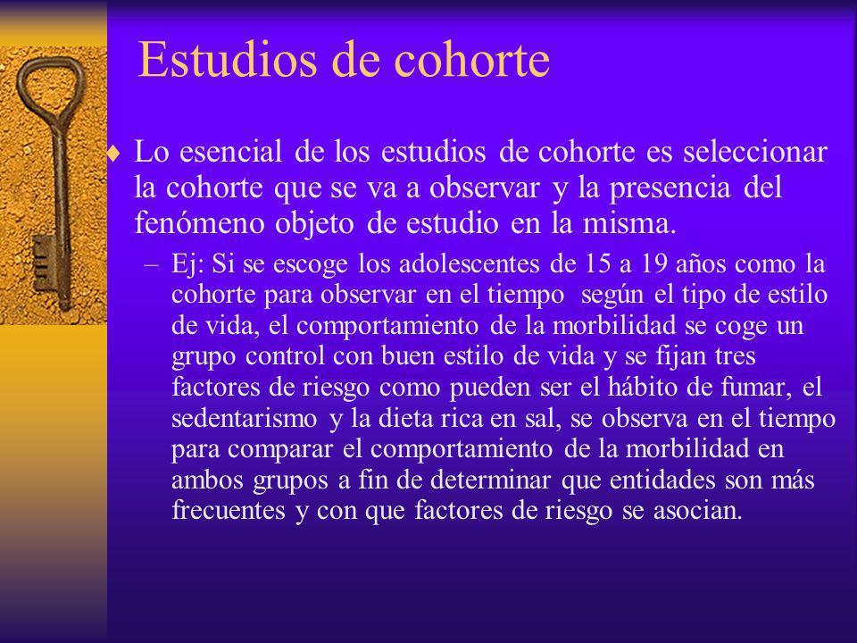 Estudios de cohorte Lo esencial de los estudios de cohorte es seleccionar la cohorte que se va a observar y la presencia del fenómeno objeto de estudi