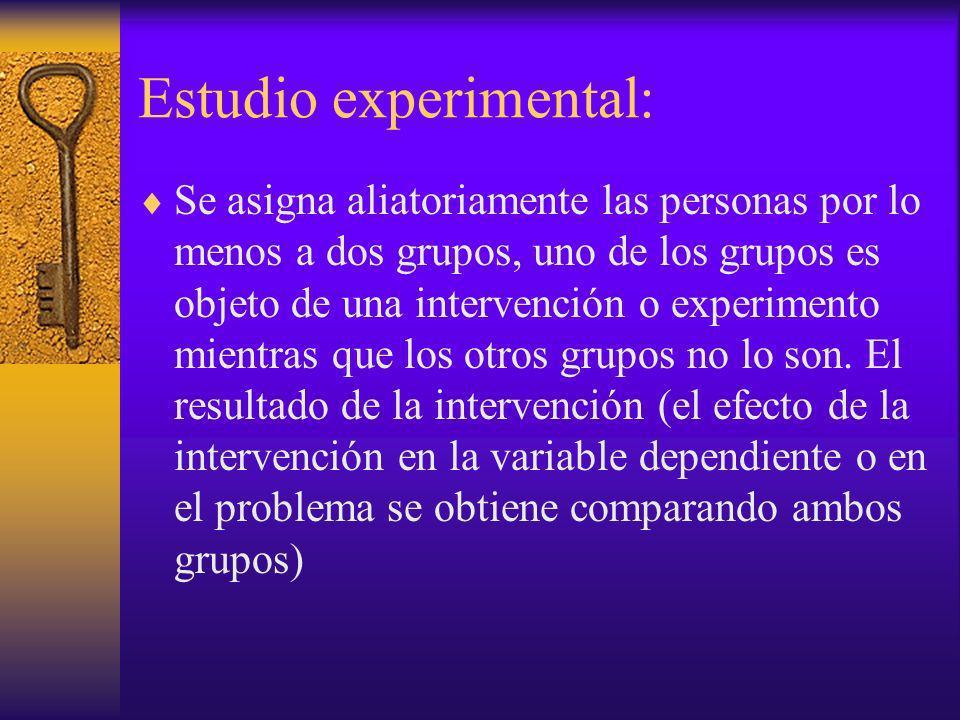 Estudio experimental: Se asigna aliatoriamente las personas por lo menos a dos grupos, uno de los grupos es objeto de una intervención o experimento m