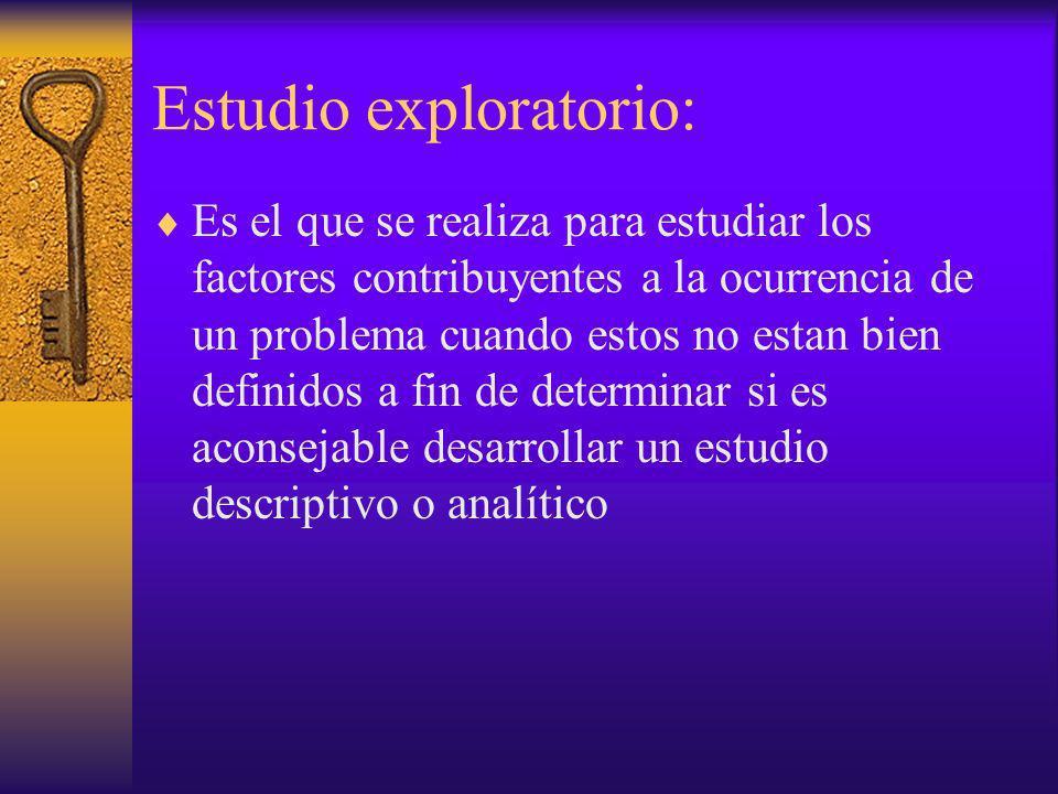 Estudio exploratorio: Es el que se realiza para estudiar los factores contribuyentes a la ocurrencia de un problema cuando estos no estan bien definid