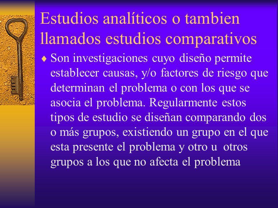 Estudios analíticos o tambien llamados estudios comparativos Son investigaciones cuyo diseño permite establecer causas, y/o factores de riesgo que det
