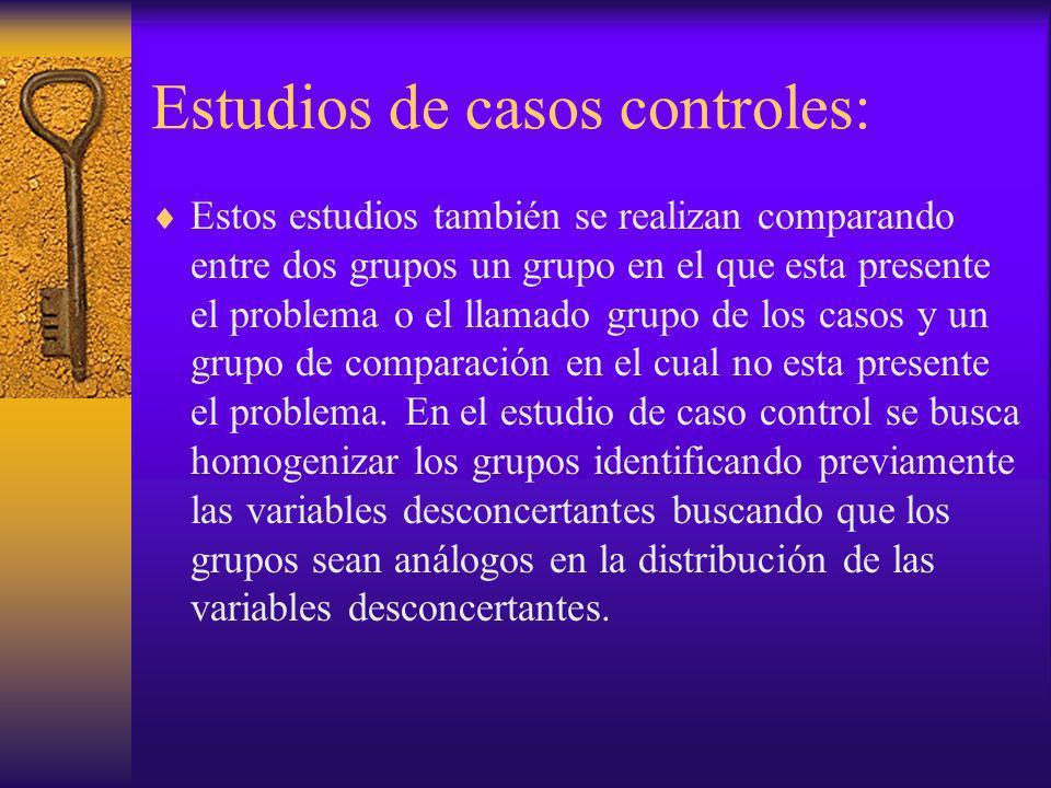 Estudios de casos controles: Estos estudios también se realizan comparando entre dos grupos un grupo en el que esta presente el problema o el llamado