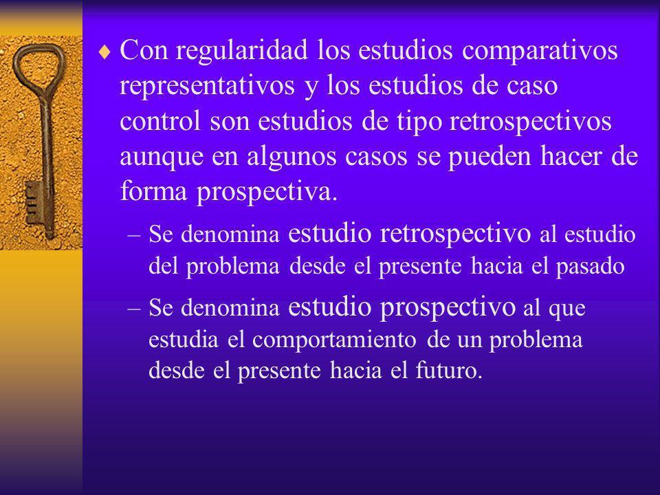 Con regularidad los estudios comparativos representativos y los estudios de caso control son estudios de tipo retrospectivos aunque en algunos casos s