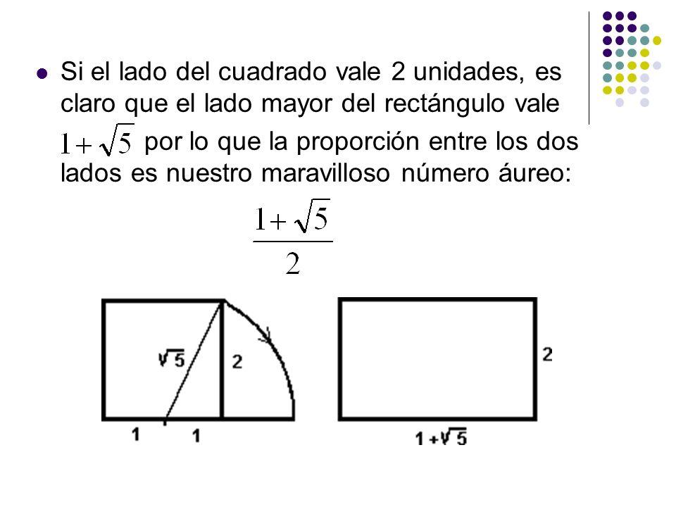 Si el lado del cuadrado vale 2 unidades, es claro que el lado mayor del rectángulo vale por lo que la proporción entre los dos lados es nuestro maravi
