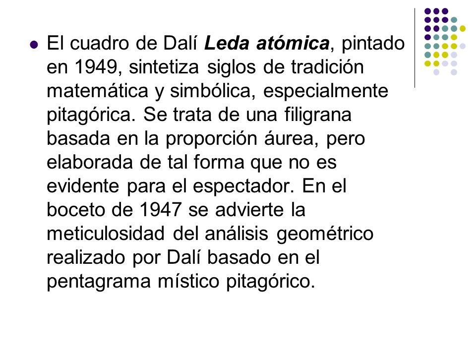 El cuadro de Dalí Leda atómica, pintado en 1949, sintetiza siglos de tradición matemática y simbólica, especialmente pitagórica. Se trata de una filig