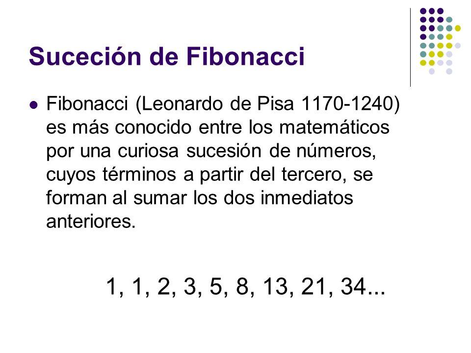 Suceción de Fibonacci Fibonacci (Leonardo de Pisa 1170-1240) es más conocido entre los matemáticos por una curiosa sucesión de números, cuyos términos