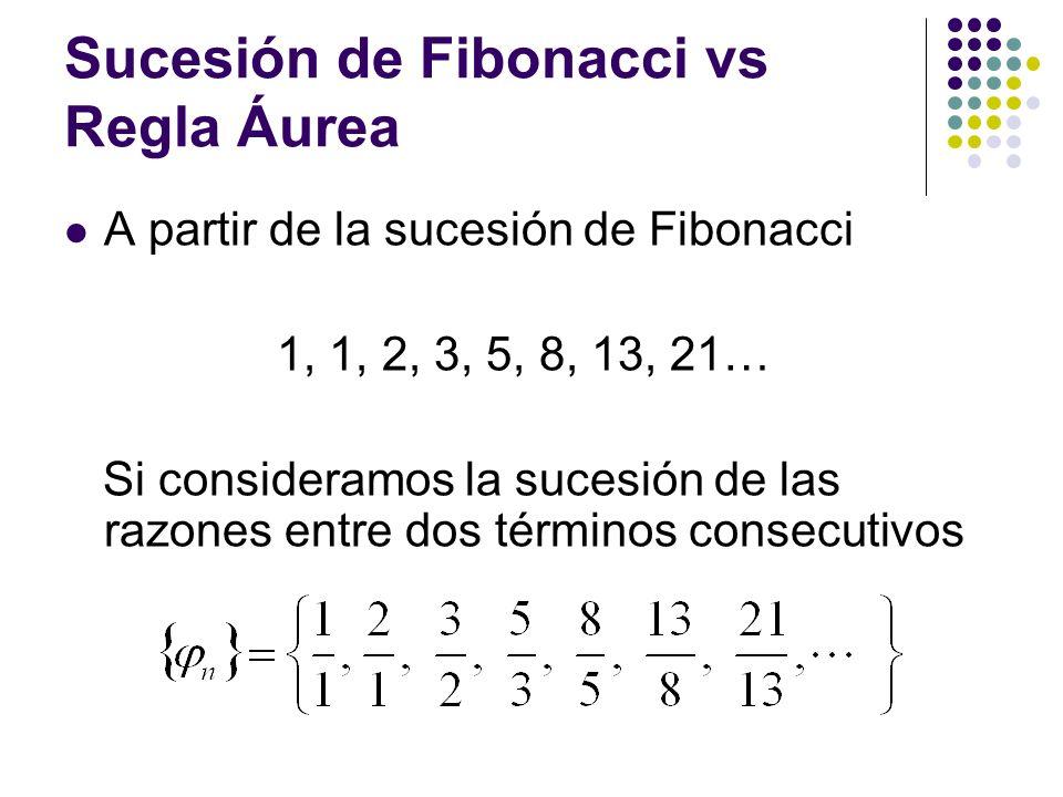 Sucesión de Fibonacci vs Regla Áurea A partir de la sucesión de Fibonacci 1, 1, 2, 3, 5, 8, 13, 21… Si consideramos la sucesión de las razones entre d