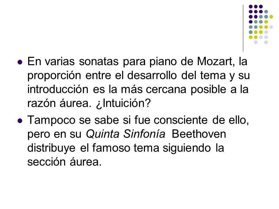 En varias sonatas para piano de Mozart, la proporción entre el desarrollo del tema y su introducción es la más cercana posible a la razón áurea. ¿Intu