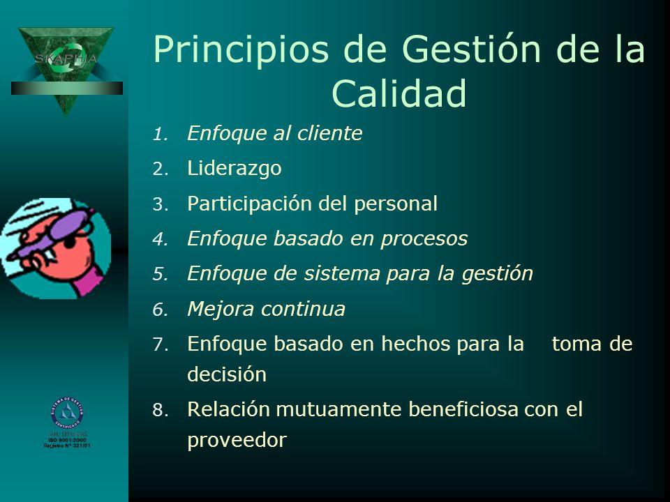 Principios de Gestión de la Calidad 1. Enfoque al cliente 2. Liderazgo 3. Participación del personal 4. Enfoque basado en procesos 5. Enfoque de siste