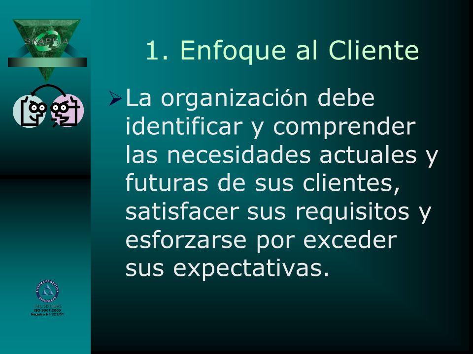 1. Enfoque al Cliente La organizaci ó n debe identificar y comprender las necesidades actuales y futuras de sus clientes, satisfacer sus requisitos y