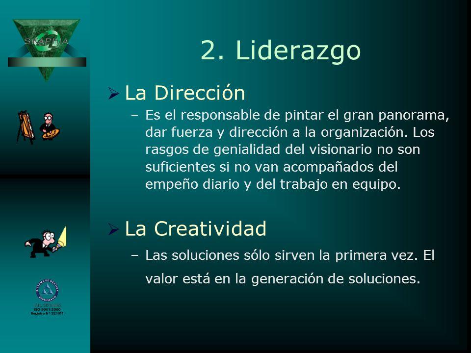 2. Liderazgo La Dirección –Es el responsable de pintar el gran panorama, dar fuerza y dirección a la organización. Los rasgos de genialidad del vision