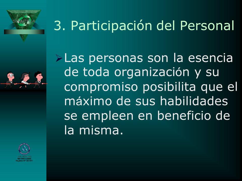 3. Participación del Personal Las personas son la esencia de toda organizaci ó n y su compromiso posibilita que el m á ximo de sus habilidades se empl