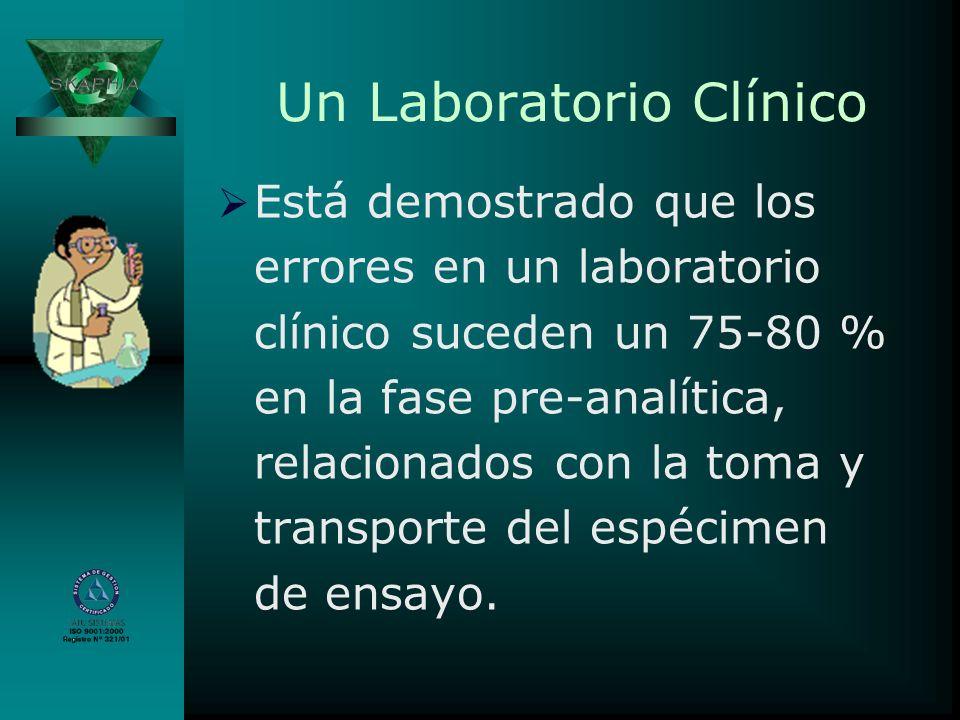 Un Laboratorio Clínico Está demostrado que los errores en un laboratorio clínico suceden un 75-80 % en la fase pre-analítica, relacionados con la toma