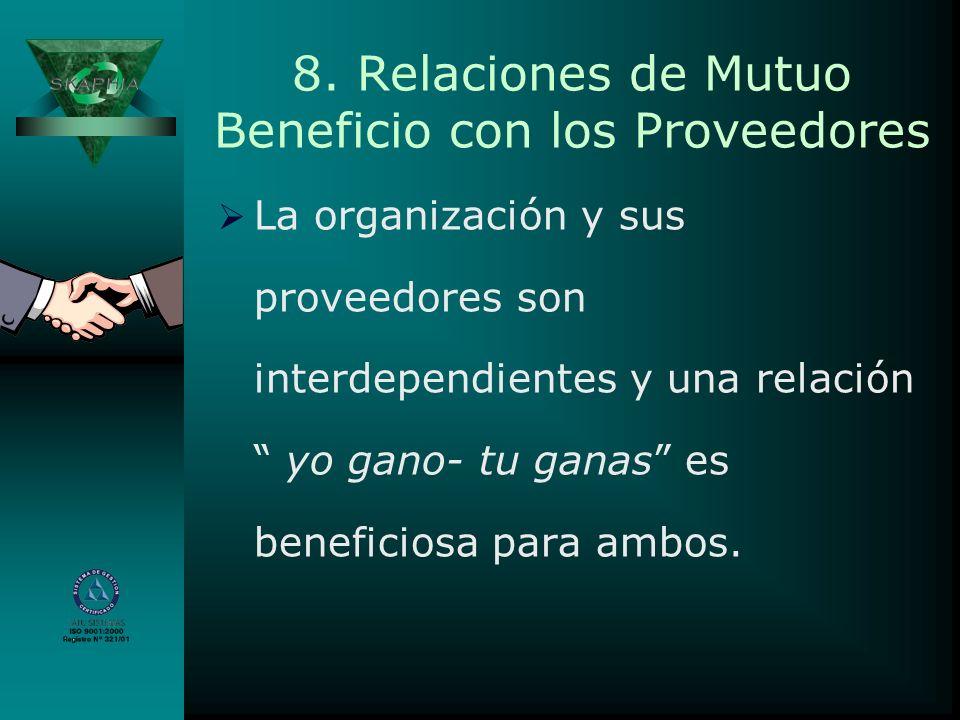 8. Relaciones de Mutuo Beneficio con los Proveedores La organización y sus proveedores son interdependientes y una relación yo gano- tu ganas es benef