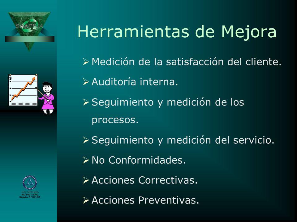 Herramientas de Mejora Medición de la satisfacción del cliente. Auditoría interna. Seguimiento y medición de los procesos. Seguimiento y medición del