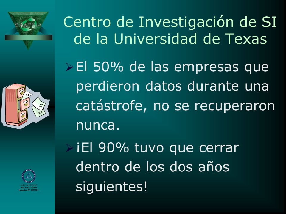 Centro de Investigación de SI de la Universidad de Texas El 50% de las empresas que perdieron datos durante una catástrofe, no se recuperaron nunca. ¡
