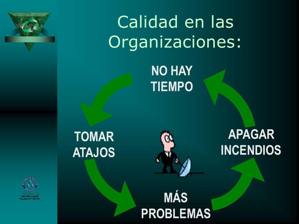 Calidad en las Organizaciones: NO HAY TIEMPO TOMAR ATAJOS MÁS PROBLEMAS APAGAR INCENDIOS