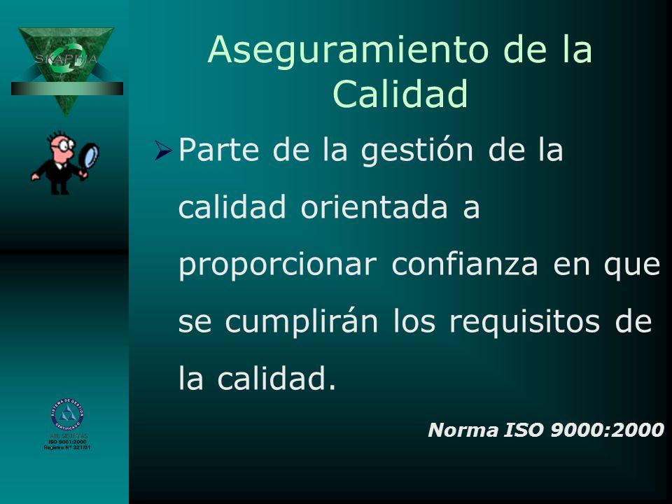 Control de Calidad Parte de la gestión de la calidad orientada al cumplimiento de los requisitos de la calidad.