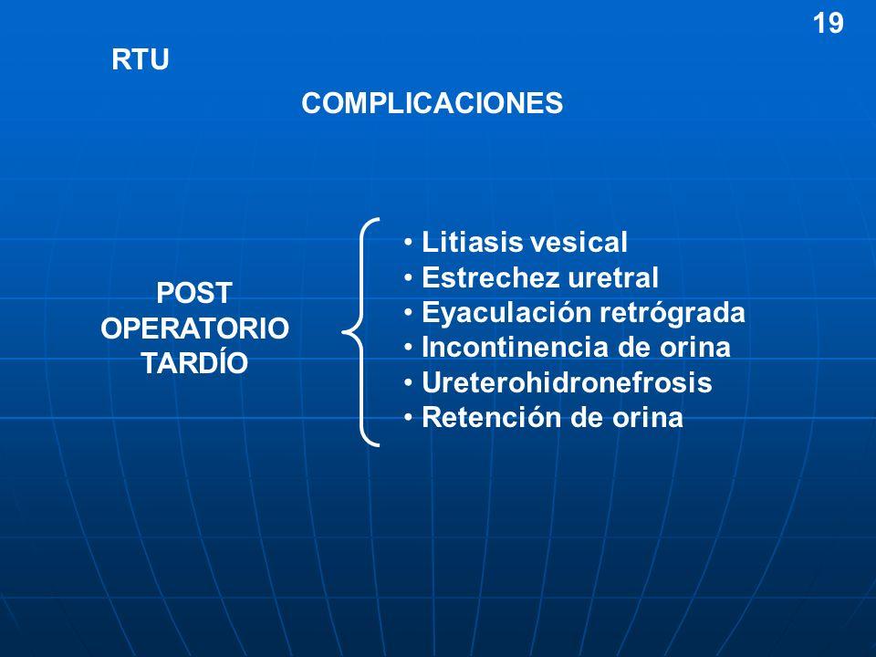 RTU COMPLICACIONES Litiasis vesical Estrechez uretral Eyaculación retrógrada Incontinencia de orina Ureterohidronefrosis Retención de orina POST OPERA