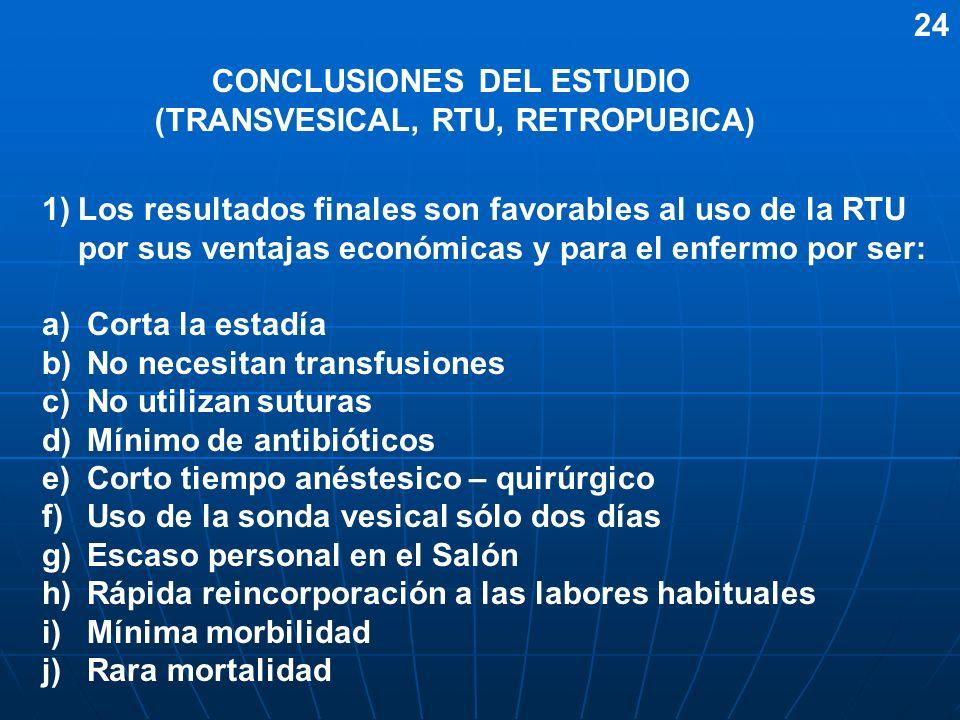 CONCLUSIONES DEL ESTUDIO (TRANSVESICAL, RTU, RETROPUBICA) 1)Los resultados finales son favorables al uso de la RTU por sus ventajas económicas y para