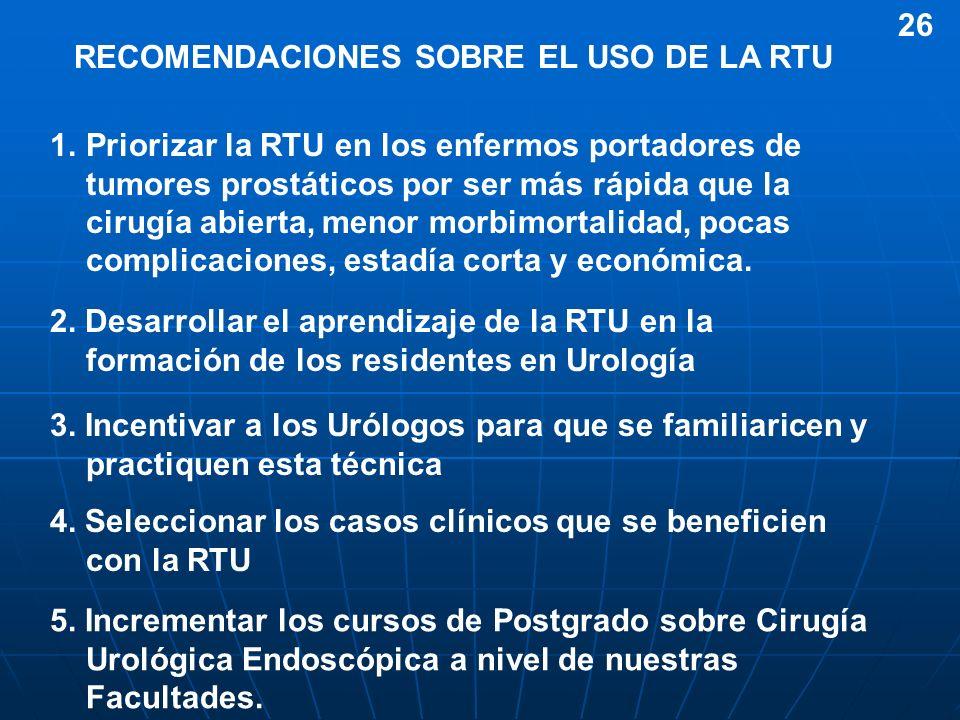 RECOMENDACIONES SOBRE EL USO DE LA RTU 1.Priorizar la RTU en los enfermos portadores de tumores prostáticos por ser más rápida que la cirugía abierta,