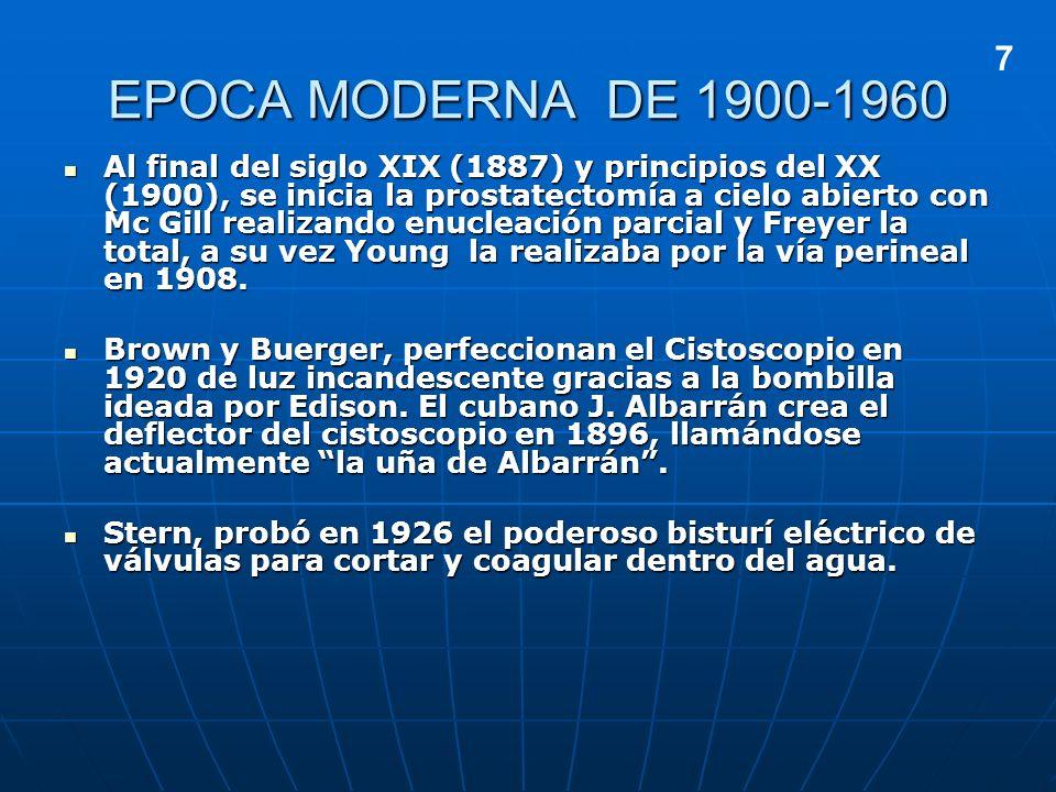 EPOCA MODERNA DE 1900-1960 Al final del siglo XIX (1887) y principios del XX (1900), se inicia la prostatectomía a cielo abierto con Mc Gill realizand