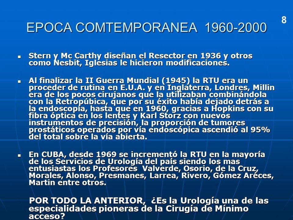 EPOCA COMTEMPORANEA 1960-2000 Stern y Mc Carthy diseñan el Resector en 1936 y otros como Nesbit, Iglesias le hicieron modificaciones. Stern y Mc Carth