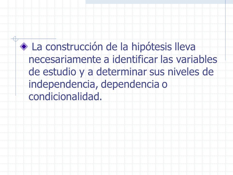 La construcción de la hipótesis lleva necesariamente a identificar las variables de estudio y a determinar sus niveles de independencia, dependencia o