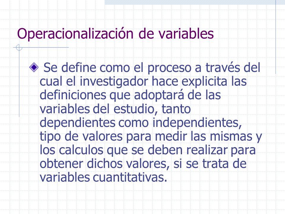 Operacionalización de variables Se define como el proceso a través del cual el investigador hace explicita las definiciones que adoptará de las variab