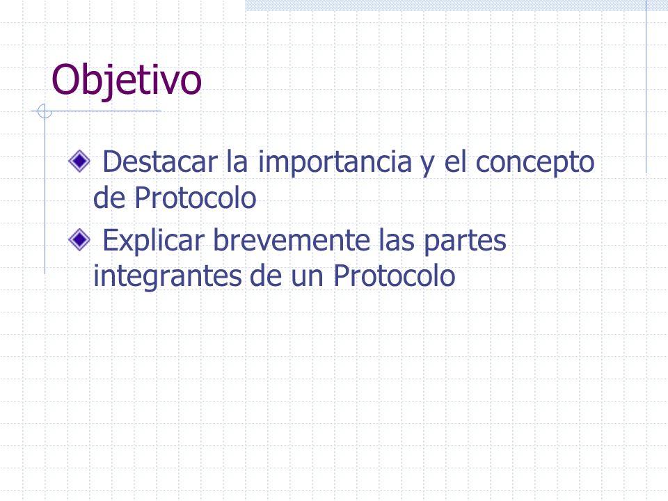 Objetivo Destacar la importancia y el concepto de Protocolo Explicar brevemente las partes integrantes de un Protocolo
