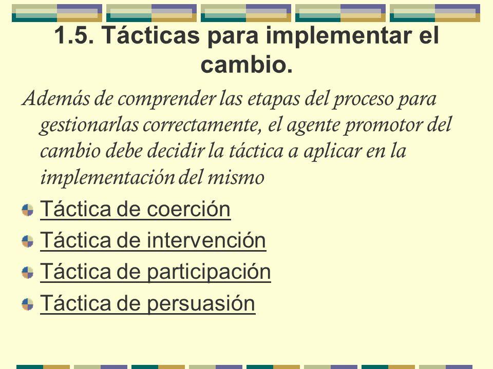 1.5. Tácticas para implementar el cambio. Además de comprender las etapas del proceso para gestionarlas correctamente, el agente promotor del cambio d