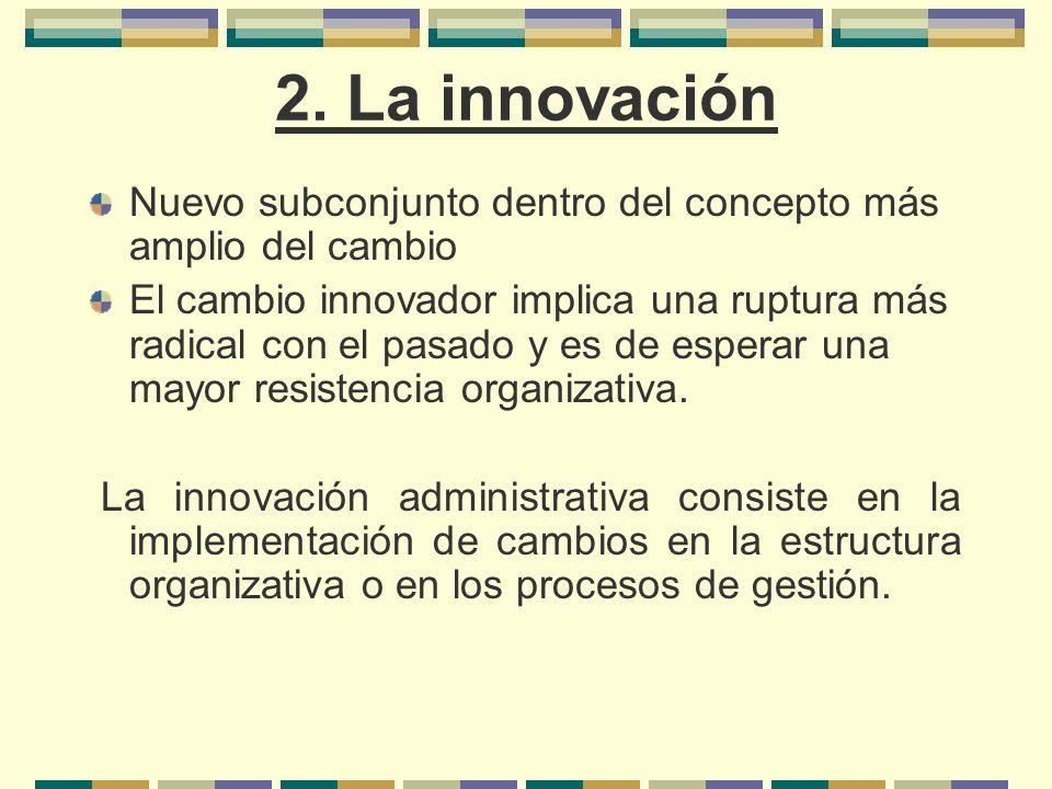 2. La innovación Nuevo subconjunto dentro del concepto más amplio del cambio El cambio innovador implica una ruptura más radical con el pasado y es de