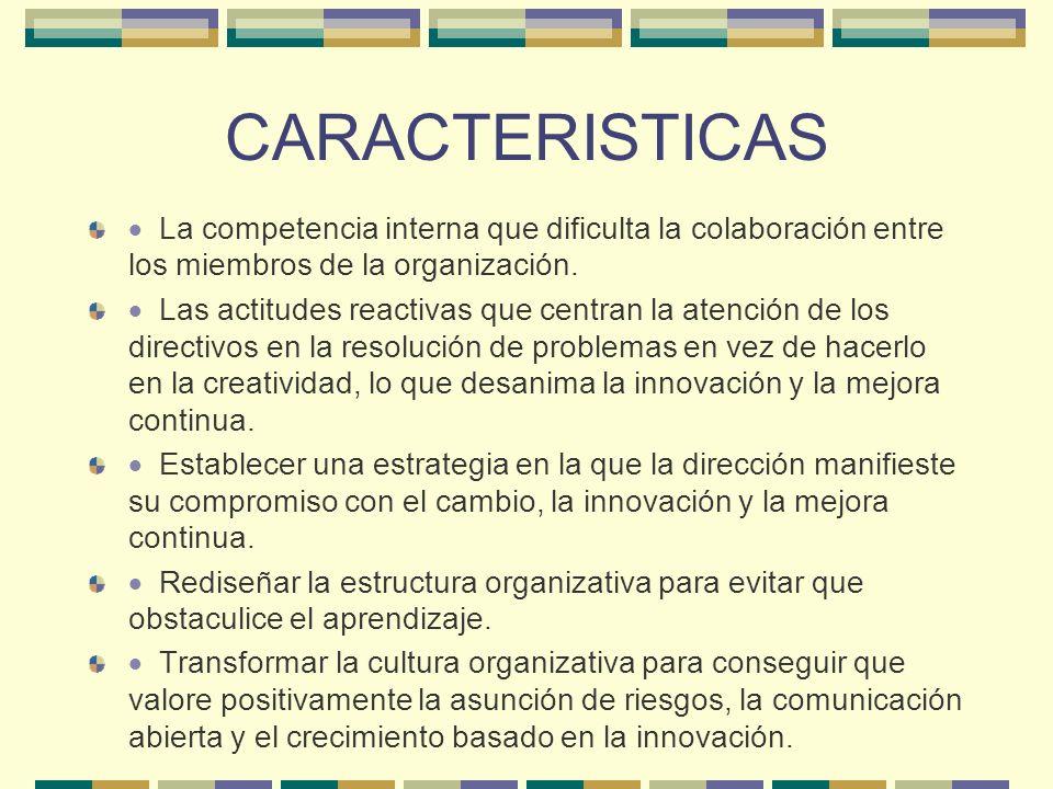 CARACTERISTICAS La competencia interna que dificulta la colaboración entre los miembros de la organización. Las actitudes reactivas que centran la ate