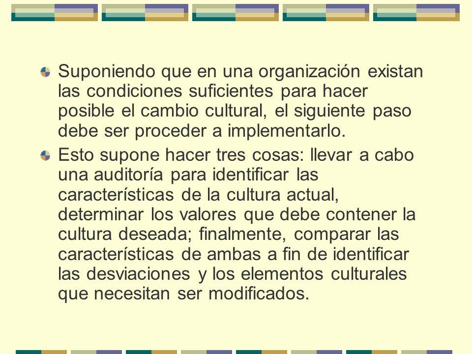 Suponiendo que en una organización existan las condiciones suficientes para hacer posible el cambio cultural, el siguiente paso debe ser proceder a im