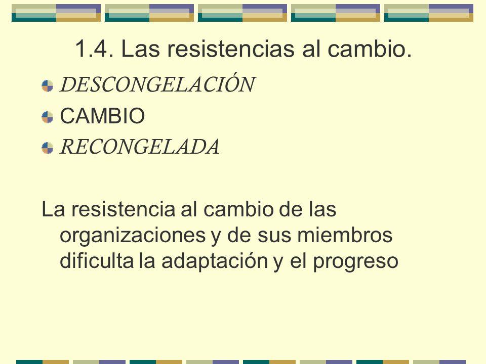 1.4. Las resistencias al cambio. DESCONGELACIÓN CAMBIO RECONGELADA La resistencia al cambio de las organizaciones y de sus miembros dificulta la adapt