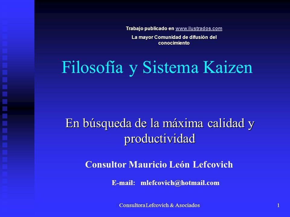 Consultora Lefcovich & Asociados1 Filosofía y Sistema Kaizen En búsqueda de la máxima calidad y productividad Consultor Mauricio León Lefcovich E-mail